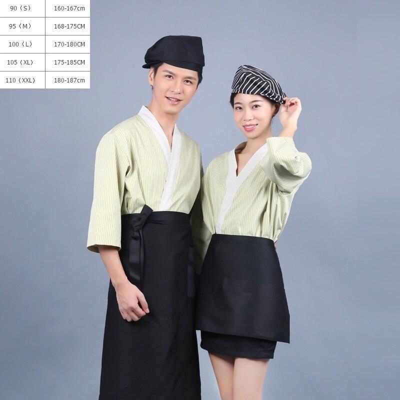 (10set-Hat-Apron-Shirt)Japanese Food Sushi Waiter Clothing Overalls Restaurant Waiter Clothing Lace Kimono