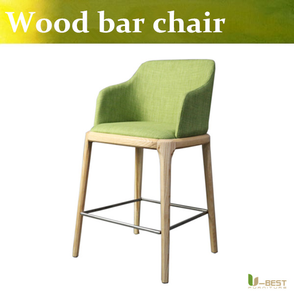 Free shipping U-BEST High End Wooden Bar Chair Wooden Bar Stool With Armrest,high chair armrest Contemporary  leather bar chairs simple european willow wood are home bar chairs wooden chair stool free shipping