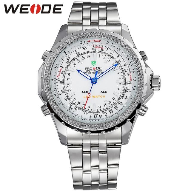 WEIDE Popular Brand New Fashion Digital LED Watch Men Waterproof Sport Watches Man White Dial Stainless Steel Relogio Masculino