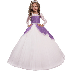 Image 4 - New Princess Lace Flower Girl Dresses Long Sleeves Floor Length Pageant Dresses First Communion Dresses Ball Gowns For Girl