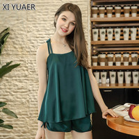 XI YUAER 2018 Sexy Summer Pajamas Sleepwear For Women Sleeveless Spaghetti Strap Nightwear Satin Cami Top