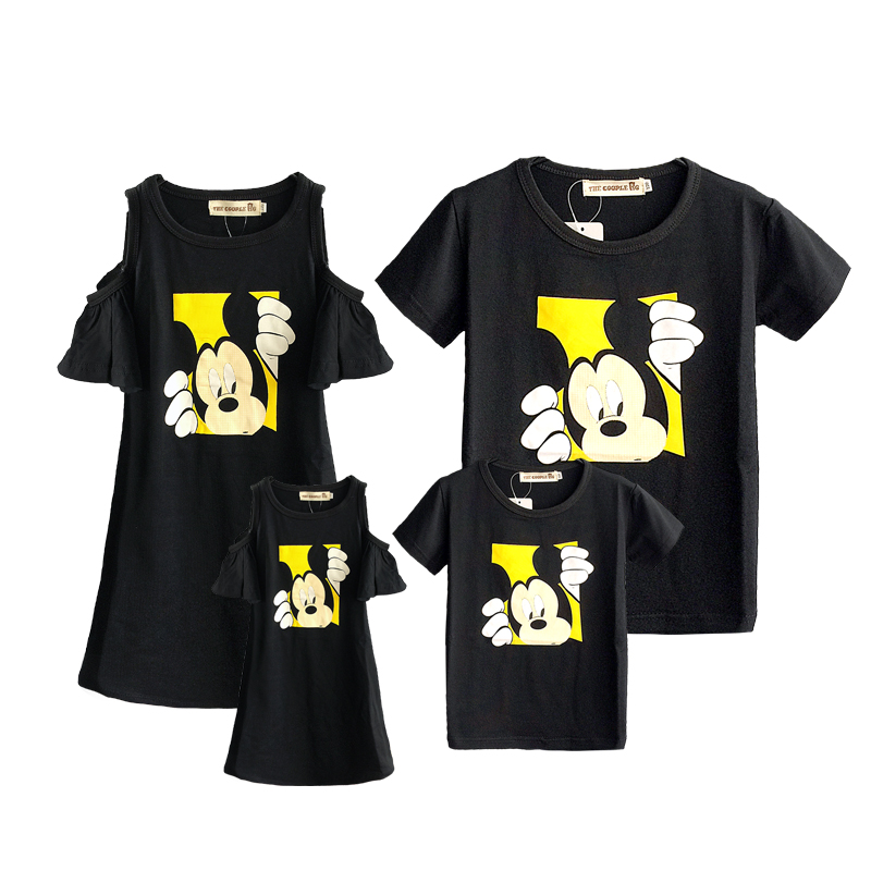 Family Matching Outfits 2019 Summer Fashion Mickey T-shirt Outfits Mother And Daughter Dresses Father Son Baby Boy Girl Clothes