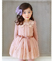 Children Spring Dresses 2016 Long Sleeve Cotton lace beaded dress Girl's Dress Autumn Female Princess Dresses lace cotton gauze