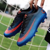 Man Football Shoes Spring Autumn Artificial Synthetic Turf Sneakers Blue Gray Long Spikes Football Shoes Lace Up Athletic Shoes