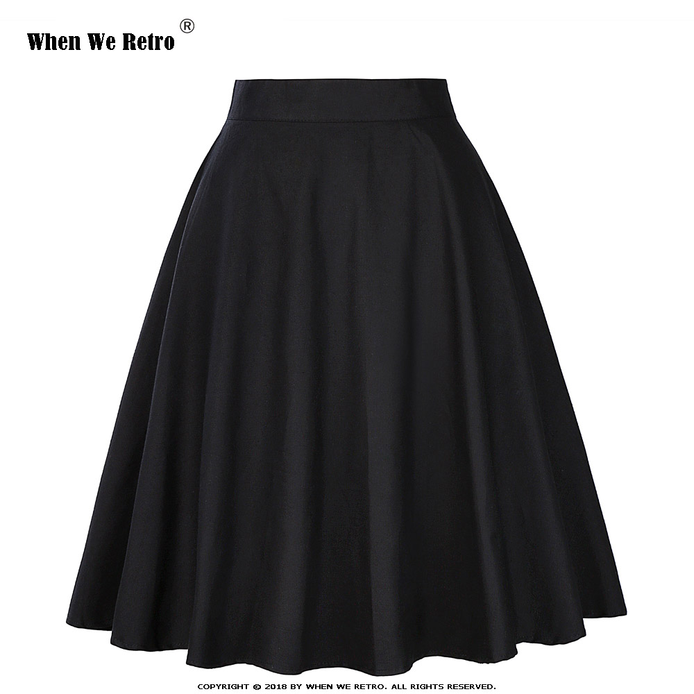 When We Retro Cotton Skirt Womens Sexy Midi Skirt Floral Polka Dots Black Red Blue Plus Size High Waist Skater Plaid Women Skirt