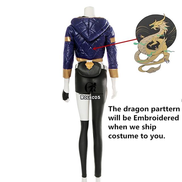 ROLECOS Game LOL K/DA Akali Cosplay Costume LOL KDA Akali Cosplay Costume Winter Uniform Costume for Women Full Set  2