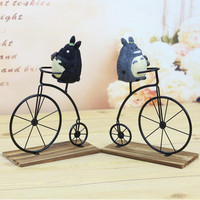 CXZYKING Animation My Neighbor Totoro Toy Totoro Model Action Figure Resin Ride On A Bicycle Home