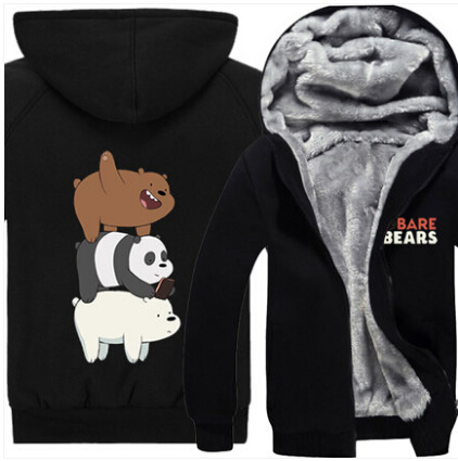 New Fashion Winter Men Women We Bare Bears hoodie Grizzly Thick Hooded Warm Jacket Coat anime cartoon