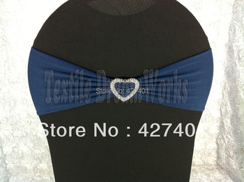Hot Sale Dark Blue Spandex Bands / Lycra Band /Chair Covers Sash With Heart Shape Buckle For Wedding & Banquet