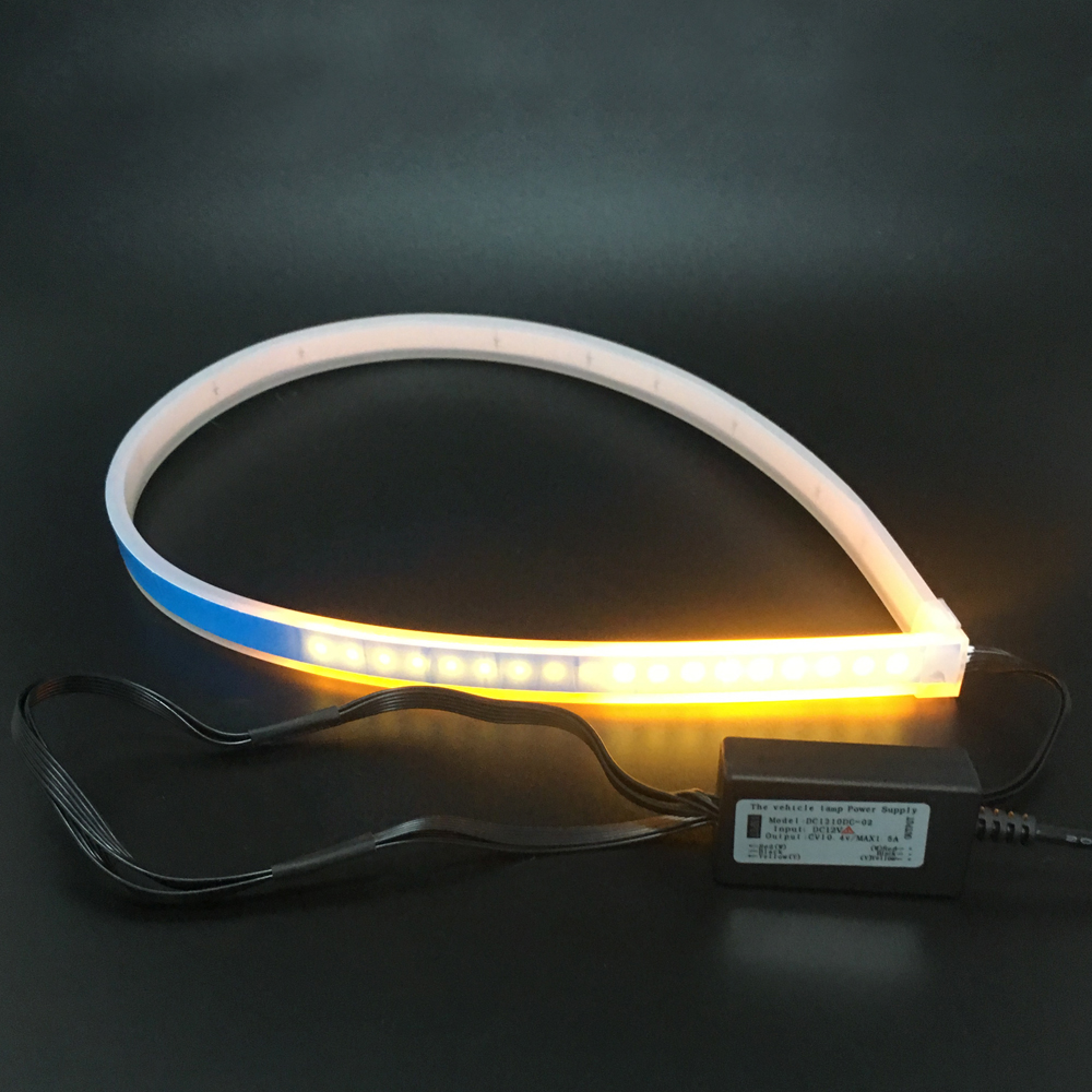 2pcs 60cm Slim Waterproof Flexible LED DRL Strip Turn Signal DRL Light For Nissan Signal Turn Lamp Amber Flowing Day Lights ijdm amber yellow error free bau15s 7507 py21w 1156py xbd led bulbs for front turn signal lights bau15s led 12v