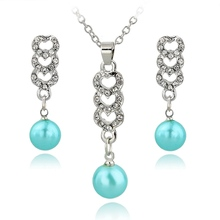 LongWay Gold Color Rhinestone Crystal Jewelry Sets Heart Jewelry Set Imitation Pearl Necklace Earrings Sets SET140023