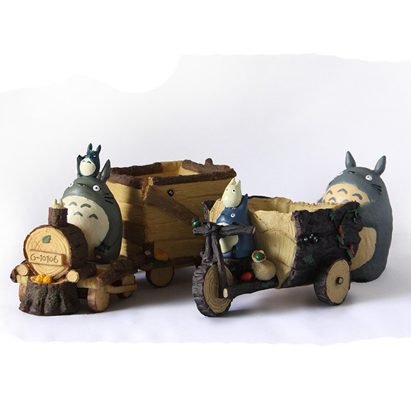 DIY Totoro Figure Toys Miyazaki Hayao My Neighbor Totoro Tricycle Locomotive Totoro Resin Action Figure Model Toy for Home Decor