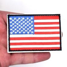 Фотография 2Pcs American Flag Embroidered Patch Black Border USA United States of America Military Uniform Iron On Sew On Emblem