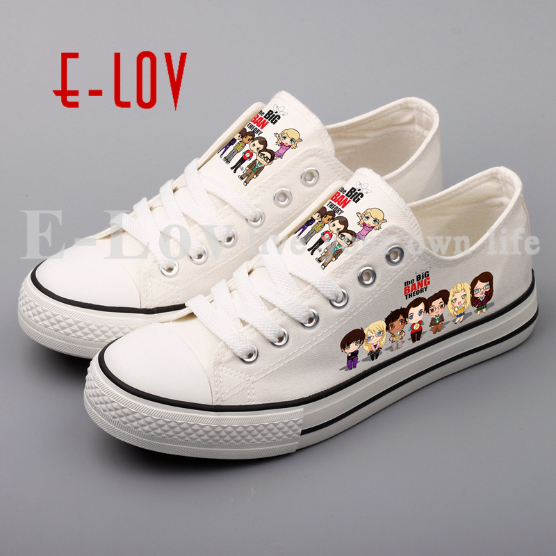 E-LOV Graffiti Cute Cartoon Figures In Canvas Shoes Women Girls Casual Leisure Shoes Plus Size e lov hand painted casual canvas shoes diy custom graffiti animals flat shoe women oxford shoes sapatos feminino
