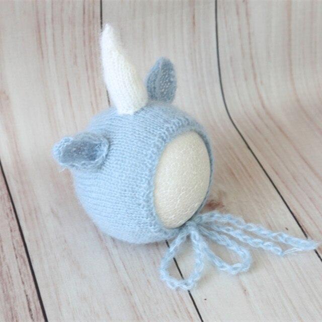 Lovely Blue Deer Hat Animal Pattern Knitted Newborn Bonnet Crochet