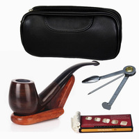 Smoking Dry Tobacco Ebony Wood Pipe Fashion Cigarette Smokes Tools Retro Bong Cleaning bag Pipe Support Quality brown color