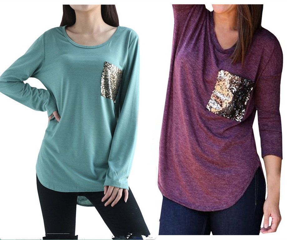 Online Shop Women s Casual Fashion Sequins Pocket T Shirt 2017 Spring O  Neck Long Sleeve Loose Tops Pullover Solid t-shirts Plus Size M0185  934cae069de8