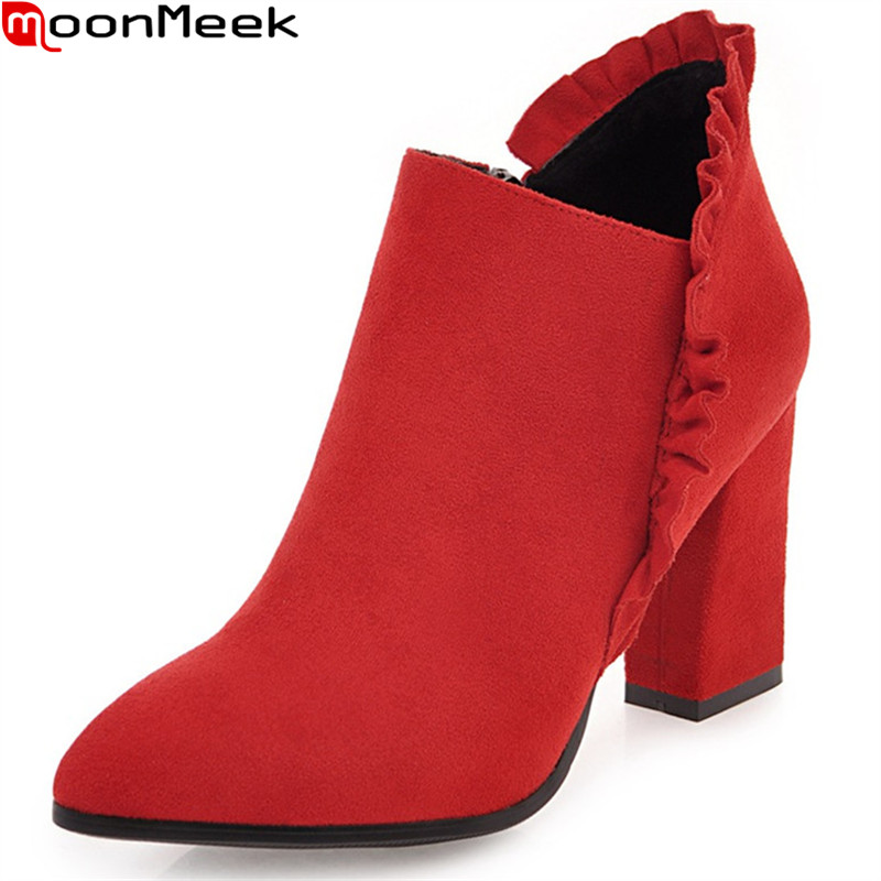 MoonMeek fashion new arrive women boots pointed toe zipper flock square heel autumn wint ladies boots black red ankle boots nemaone 2018 women ankle boots square high heel pointed toe zipper fashion all match spring and autumn ladies boots