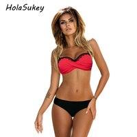 HolaSukey 2017 Sexy Pure Bikini Classic Patchwork Swimsuit Women Lace Bikini Set Female Swimwear Beach Bathing