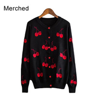 Merched Crew Neck Cherry Embroidery Sweater Coat Women Cute Long Sleeve Autumn Cardigans Tops Female Elegant