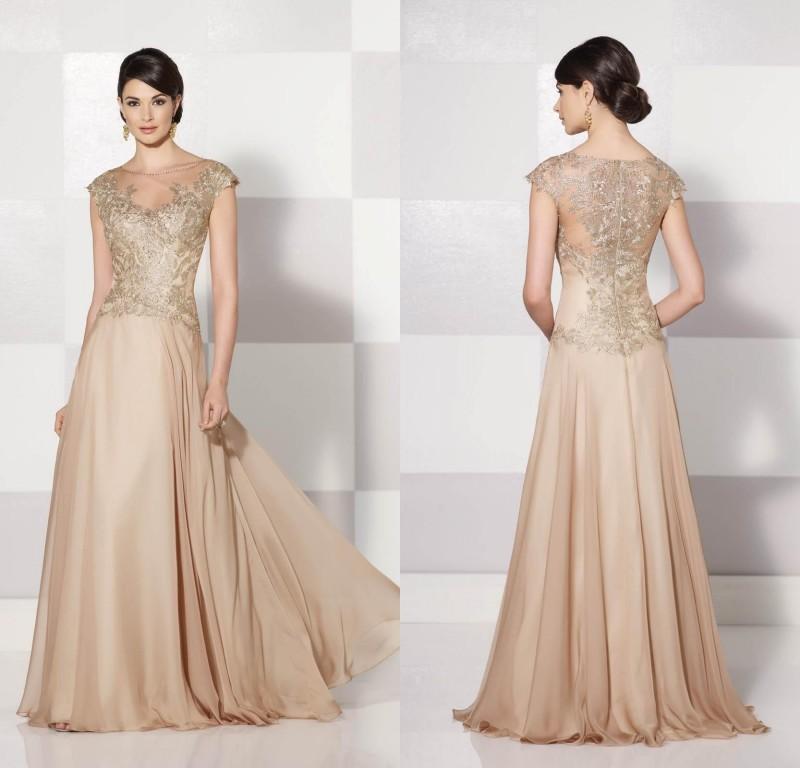Stunning Beautiful Champagne Mother Of The Bride Dresses Chiffon Women  Evening Dress Appliqued Top 2d76da74a7