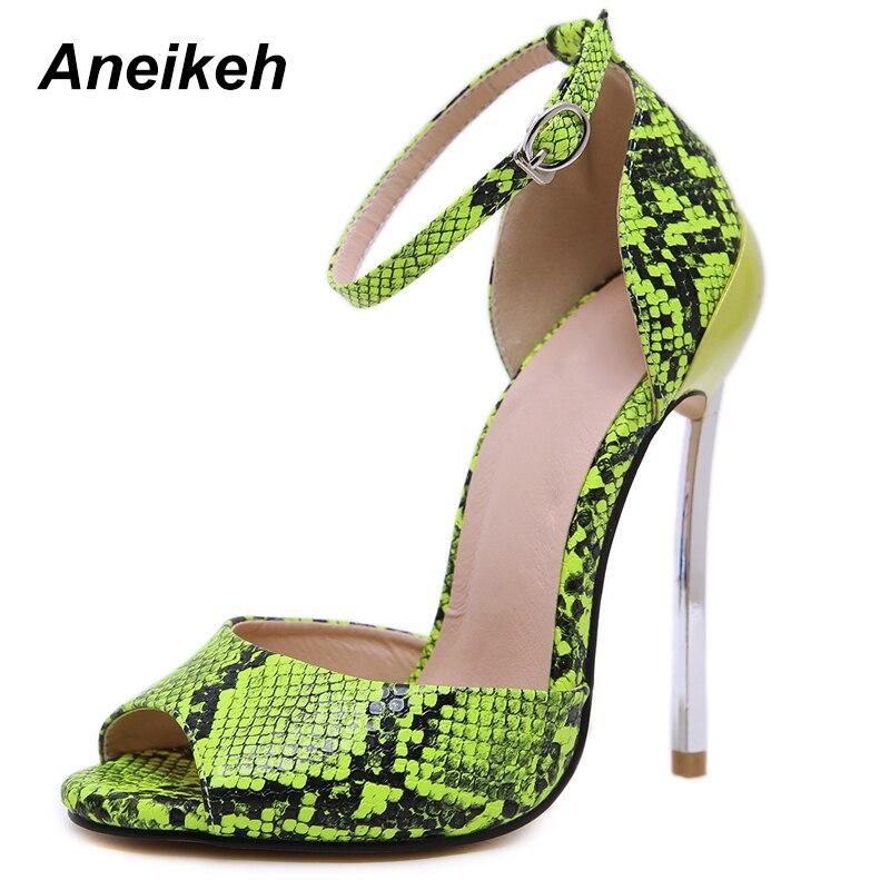 Aneikeh 2019 New Heel Women Gladiator Sandals Open Toe Ladies Snake Prints Shoes Woman Sexy Summer High Heel Female Sandals 42