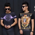 Cool Men T-Shirt Fashion 2016 Luxury Brand Designer Round Neck Tops T Shirt Homme 3D Printing Ice Silk Casual Men Clothing Luxe