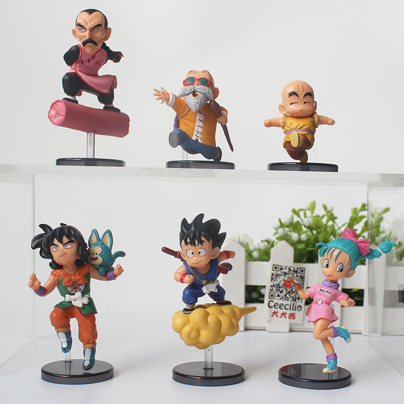 6pcs/set Classic Cartoon DRAGON BALL pvc Action Figure goku Bulma Yamcha Krillin Collection Model Toys 8CM patrulla canina with shield brinquedos 6pcs set 6cm patrulha canina patrol puppy dog pvc action figures juguetes kids hot toys