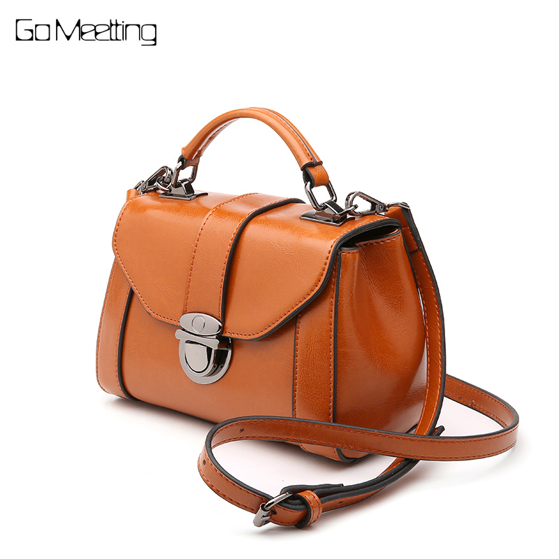 Go Meetting Brand Genuine Leather 2018 Women Shoulder Bag Casual Style Crossbody Bag For Ladies Handbags For Female sac a main