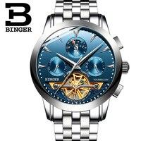 BINGER Relógio Mecânico Automático Dos Homens De Luxo Assista men Tourbillon Fase Da Lua de Aço Inoxidável À Prova D' Água Sapphire Relógio Masculino|Relógios mecânicos| |  -