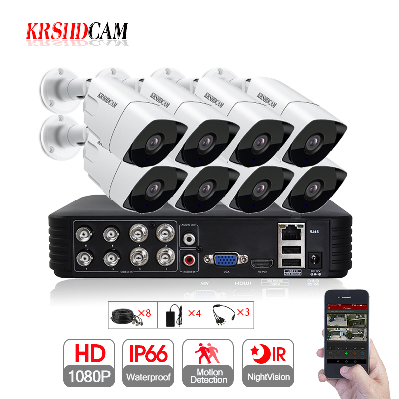 8CH AHD Kits 8CH 1080N DVR 8PCS 1080P SONY AHD Camera IR Waterproof font b Outdoor