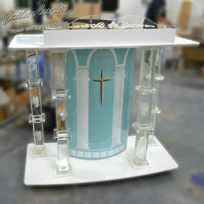 Clear Church Podium Accept Customized Logo Foyer Furniture Church Furniture Crystal Column