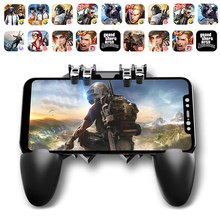 AK66 Six Finger All-in-One Mobile Game Controller Artifact Free Gaming Fire Key Button Joystick Gamepad L1 R1 Trigger for PUBG