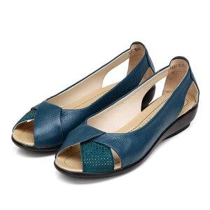 Image 5 - 2020 קיץ נשים נעלי אישה עור אמיתי פלטפורמת סנדלי בוהן פתוח אמא טריזים מזדמנים סנדלי נשים סנדלים