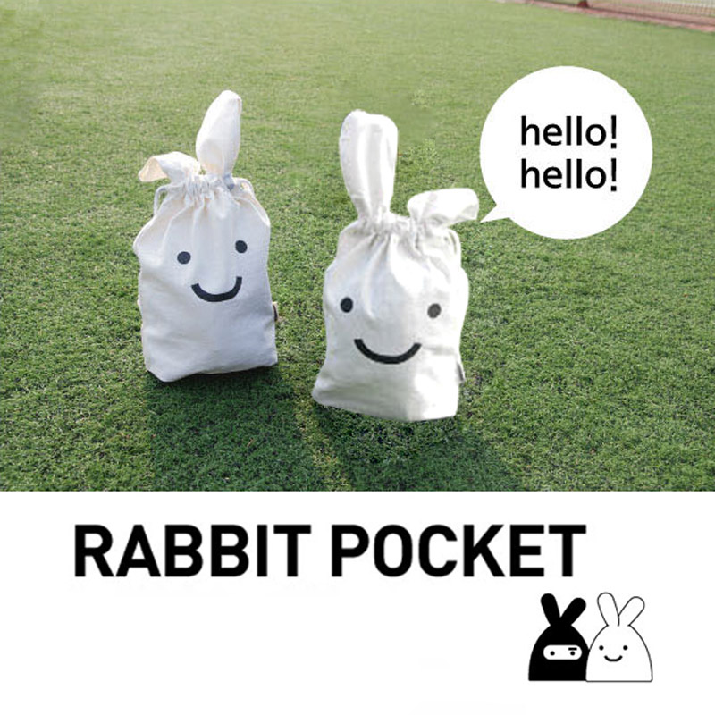 White Multifunction Rabbit Shrink Bag Pouch Cosmetic Case Storage Pocket Bags PTSP