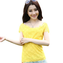 2017 Summer Elegant Lady Floral Lace Top Short Sleeve Solid Sexy Women Round Neck Blouse Shirt