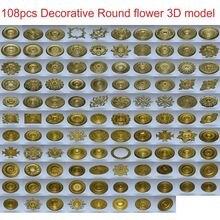 цена на 108pcs/set Decorative Round flower 3d model STL relief for cnc STL format 3d model for cnc stl relief artcam vectric aspire
