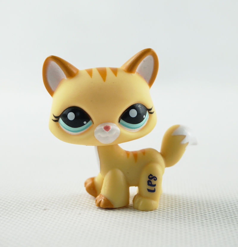New Pet Collection Figure LPS #2034 Striped Yellow Short Hair Kitty Cat Girl Toys lps pet shop sparkle eyes orange short hair dog collection classic animal pet cat toys action figures kids toys children gift