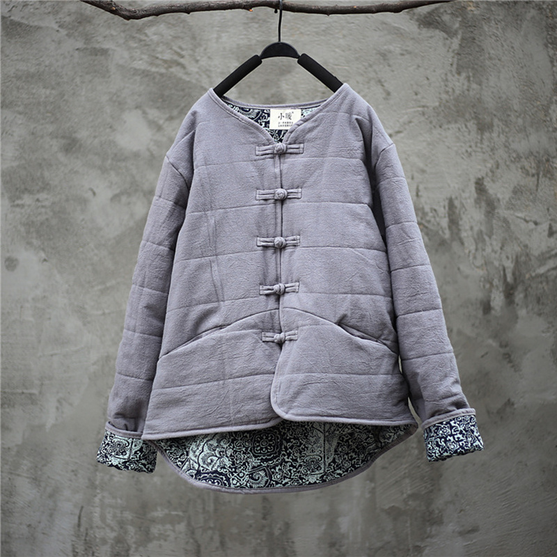 Johnature Cotton Linen Women Solid Color   Parkas   Coats New Vintage 2018 Winter Loose Blue And White Porcelain Splice Cotton Coats