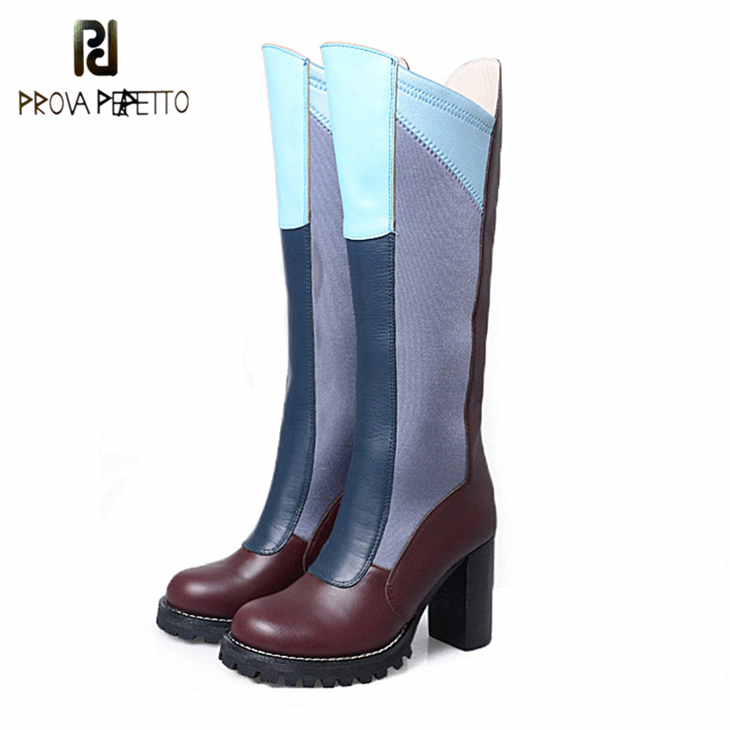 Prova Perfetto Fashion Mixed Color Cow Genuine Leather Chunky High Heel Boots Sweety Style Round Toe Woman Knee High Boots