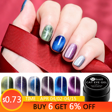 Mtssii 5D Cat Eyes Nail Gel 5ml Magnetic Soak Off UV Lacquers Starry Sky Jade Effect Art Varnish Set Black Base Needed