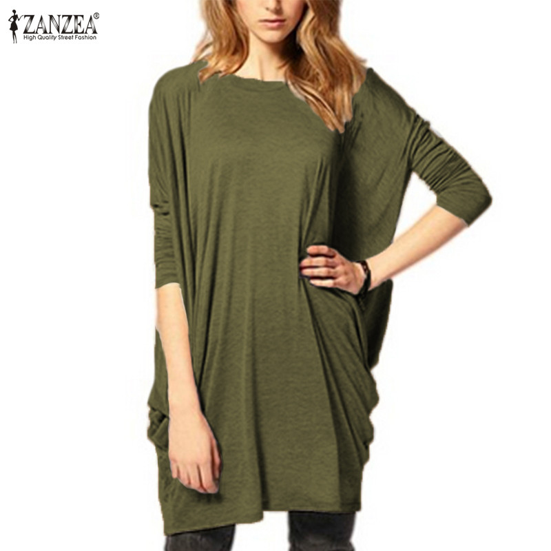 ZANZEA 2018 Women Mini Dress Batwing Sleeve Lady Long Sleeve Long Top Blusas Female O Neck Solid Short Vestidos Plus Size S-5XL