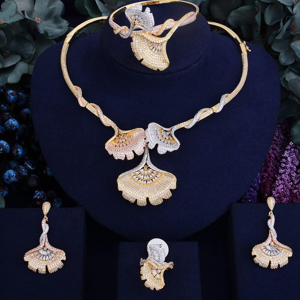 GODKI Fleur De Lys De Luxe Femmes De Mariage Naija Nuptiale Cubique Zircone Collier Dubaï Robe Ensemble de Bijoux