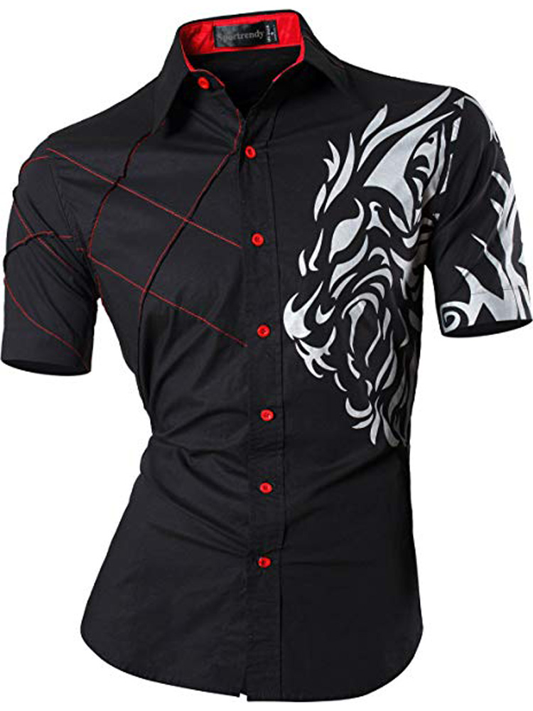 Sportreny Men Shirts Dress Casual Lion Summer Short Sleeve Slim Fit Fashion Stylish Tattoo Printed JZS060