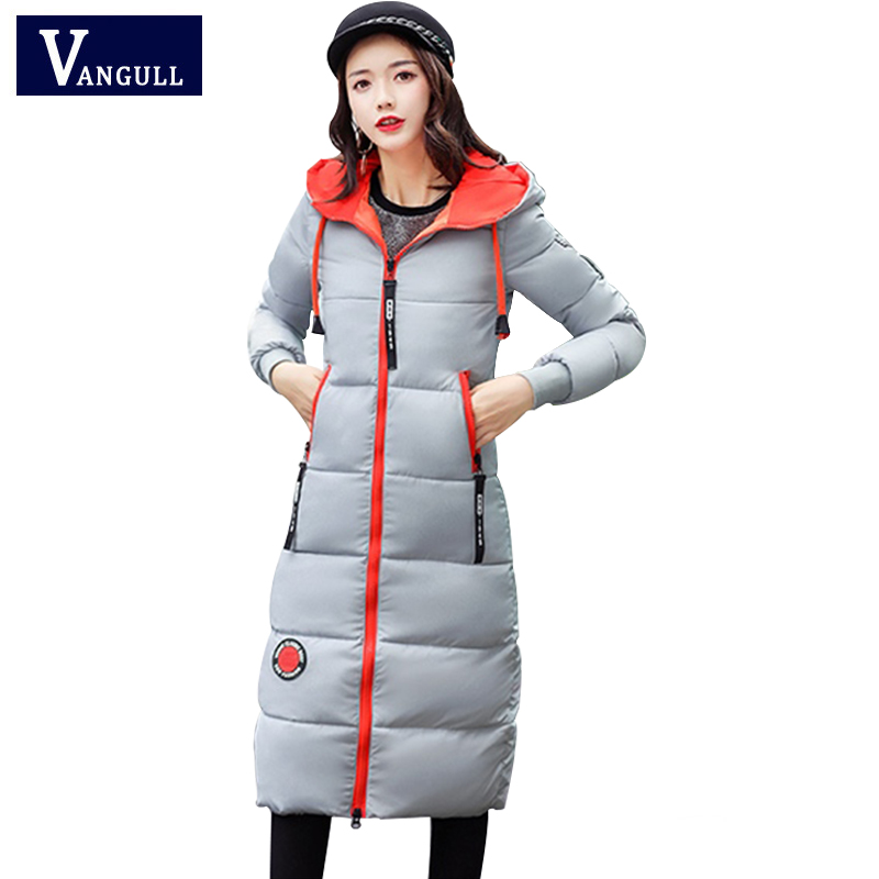 Winter Jackets Women Warm Long Coats 2018 New Fashion Streetwear Thick   Parka   Contrast Color Block Jacket Female Outwear Coat