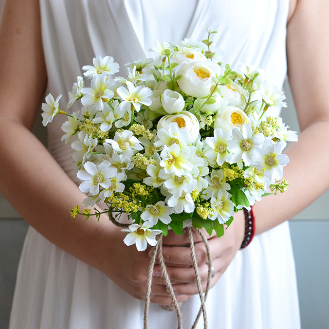 2016 Wedding Bouquet Green Plant with White Flower Bridal Bridesmaid ...