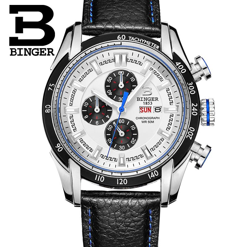 2017 New Watch  Masculino Chronograph Function Mens Binger Watches Genuine Leather Luxury Men Brand Military Wristwatches reloj