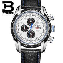 2017 New Watch Masculino Chronograph Function Mens Binger Watches Genuine Leather Luxury Men Brand Military Wristwatches reloj