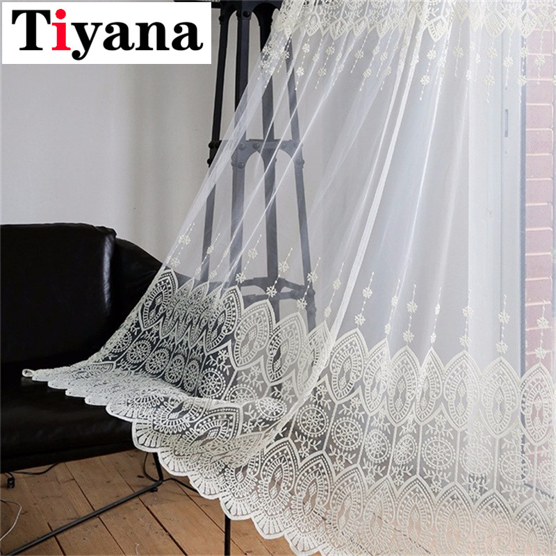 Tiyana Beige Lace Curtain Sheer Curtain Panels Kitchen Voile Curtains Drape For Balcony Embroidery Window Treatments P022D3