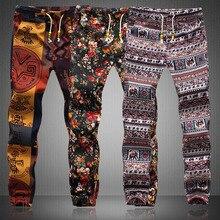 Модные мужские брюки с цветочным рисунком, повседневные узкие льняные брюки с эластичной талией, дышащие спортивные штаны размера плюс S-5XL
